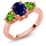 Gem Stone King 2.75 Ct Oval Blue Sapphire Green Peridot 18K Rose Gold Plated Silver 3 Stone Ring
