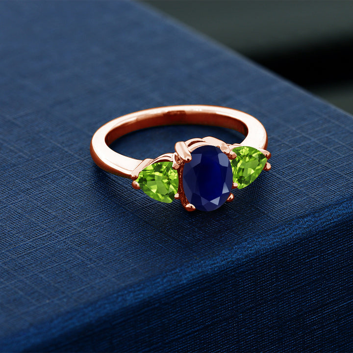 2.75 Ct Oval Blue Sapphire Green Peridot 18K Rose Gold Plated Silver Ring