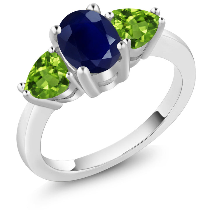 Gem Stone King 2.75 Ct Oval Blue Sapphire Green Peridot 925 Sterling Silver Women's 3 Stone Ring