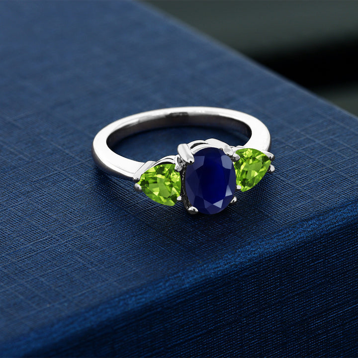 2.75 Ct Oval Blue Sapphire Green Peridot 925 Sterling Silver Women's Ring
