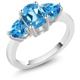 Gem Stone King 2.56 Ct Oval Swiss Blue Topaz 925 Sterling Silver 3 Stone Ring