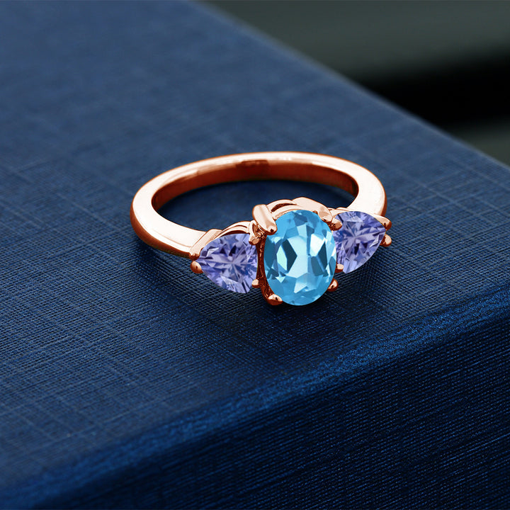 2.20 Ct Oval Swiss Blue Topaz Blue Tanzanite 18K Rose Gold Plated Silver Ring