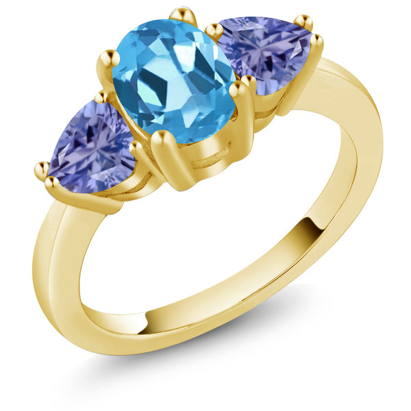 Gem Stone King 2.20 Ct Oval Swiss Blue Topaz Blue Tanzanite 18K Yellow Gold Plated Silver 3 Stone Ring