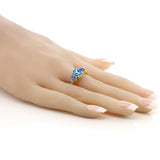 2.20 Ct Oval Swiss Blue Topaz Blue Tanzanite 18K Yellow Gold Plated Silver Ring