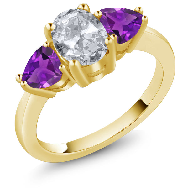 Gem Stone King 2.10 Ct Oval White Topaz and Purple Amethyst 18K Yellow Gold Plated Silver 3 Stone Ring