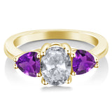 2.10 Ct Oval White Topaz and Purple Amethyst 18K Yellow Gold Plated Silver Ring