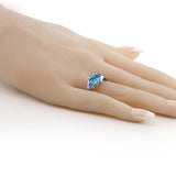 1.72 Ct Oval Checkerboard Swiss Blue Topaz Blue Tanzanite 925 Silver Ring