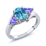 Gem Stone King 1.72 Ct Oval Checkerboard Swiss Blue Topaz Blue Tanzanite 925 Sterling Silver Ring