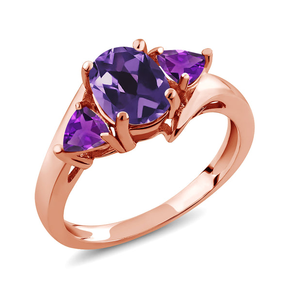 Gem Stone King 1.42 Ct Oval Purple Amethyst 18K Rose Gold Plated Silver Ring