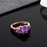1.42 Ct Oval Purple Amethyst 18K Rose Gold Plated Silver Ring