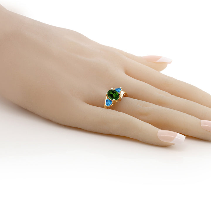 1.76 Ct Chrome Diopside and Swiss Blue Topaz 18K Yellow Gold Plated Silver Ring