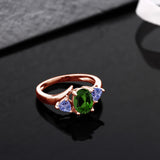 1.62 Ct Green Chrome Diopside Blue Tanzanite 18K Rose Gold Plated Silver Ring