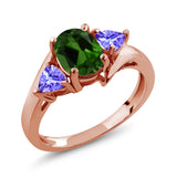 Gem Stone King 1.62 Ct Green Chrome Diopside Blue Tanzanite 18K Rose Gold Plated Silver Ring