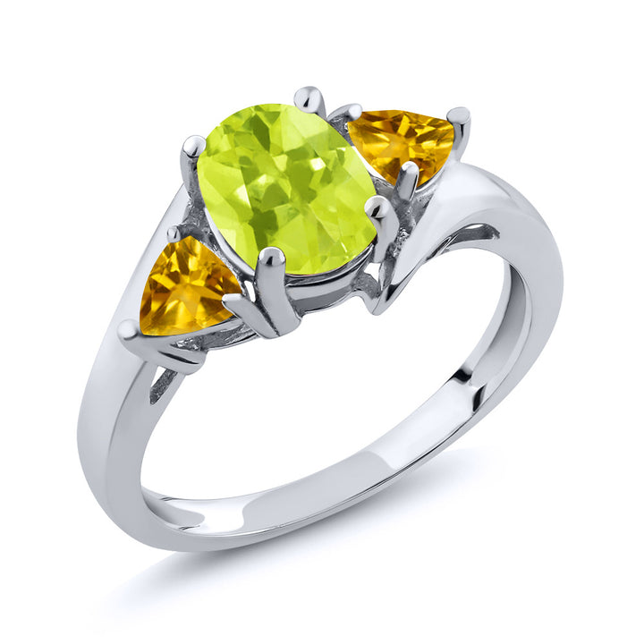 Gem Stone King 1.50 Ct Oval Yellow Lemon Quartz Yellow Citrine 925 Sterling Silver Ring
