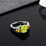 1.50 Ct Oval Yellow Lemon Quartz Yellow Citrine 925 Sterling Silver Ring