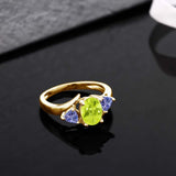 1.52 Ct Yellow Lemon Quartz Blue Tanzanite 18K Yellow Gold Plated Silver Ring