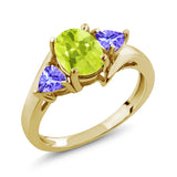 Gem Stone King 1.52 Ct Yellow Lemon Quartz Blue Tanzanite 18K Yellow Gold Plated Silver Ring
