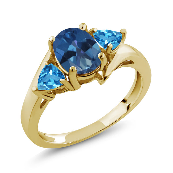 Gem Stone King 1.86 Ct Blue Mystic Topaz Swiss Blue Topaz 18K Yellow Gold Plated Silver Ring