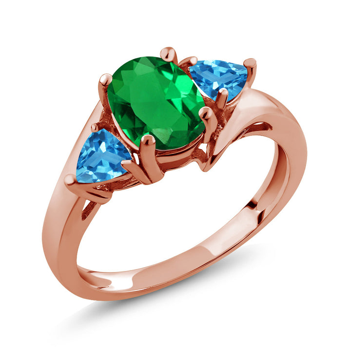 Gem Stone King 1.56 Ct Green Simulated Emerald Swiss Blue Topaz 18K Rose Gold Plated Silver Ring