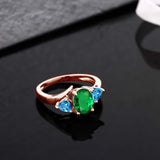 1.56 Ct Simulated Emerald Swiss Blue Topaz 18K Rose Gold Plated Silver Ring