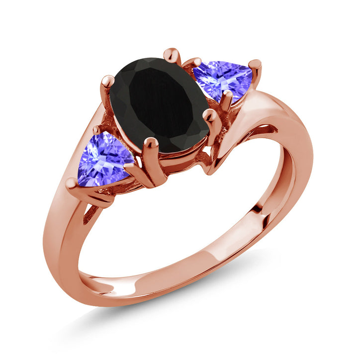 Gem Stone King 1.67 Ct Oval Black Onyx Blue Tanzanite 18K Rose Gold Plated Silver Ring