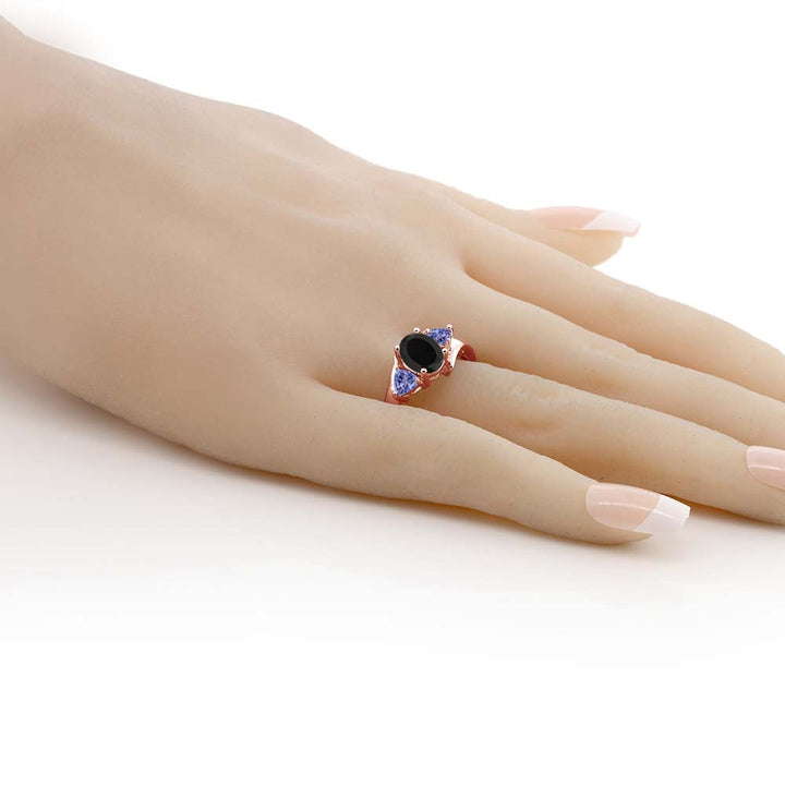1.67 Ct Oval Black Onyx Blue Tanzanite 18K Rose Gold Plated Silver Ring