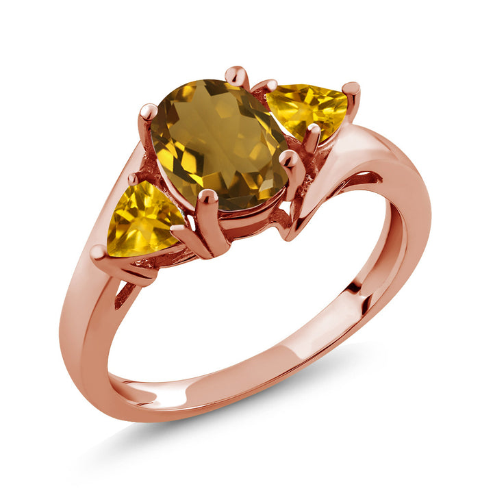 Gem Stone King 1.40 Ct Oval Whiskey Quartz Yellow Citrine 18K Rose Gold Plated Silver Ring