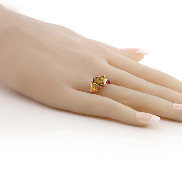 1.40 Ct Oval Whiskey Quartz Yellow Citrine 18K Rose Gold Plated Silver Ring
