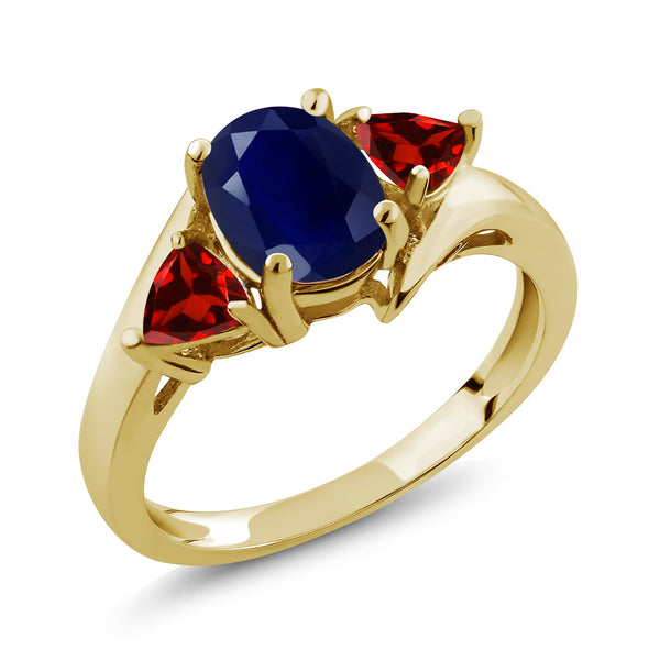 Gem Stone King 2.47 Ct Oval Blue Sapphire Red Garnet 18K Yellow Gold Plated Silver Ring
