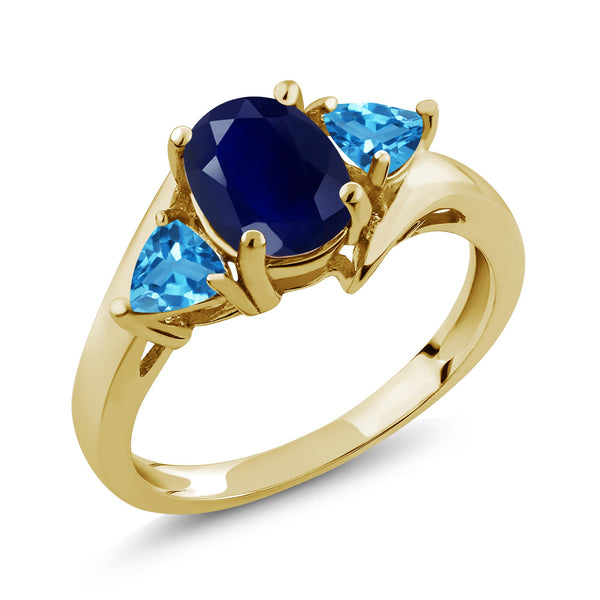 Gem Stone King 2.35 Ct Oval Blue Sapphire Swiss Blue Topaz 18K Yellow Gold Plated Silver Ring
