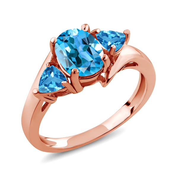 Gem Stone King 1.86 Ct Oval Swiss Blue Topaz 18K Rose Gold Plated Silver Ring