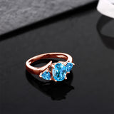 1.86 Ct Oval Swiss Blue Topaz 18K Rose Gold Plated Silver Ring