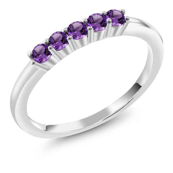 0.30 Ct Round Amethyst 925 Sterling Silver Five Stone Anniversary Wedding Band