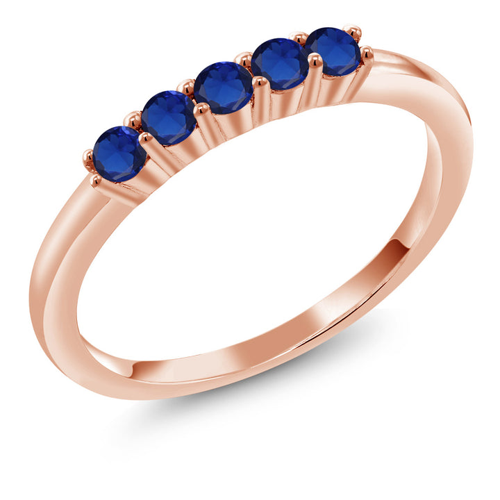 Gem Stone King 0.40 Ct Round Blue Simulated Sapphire 18K Rose Gold Plated Silver Ring