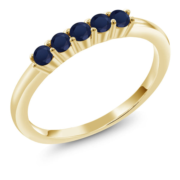 0.40 Ct Sapphire 18K Yellow Gold Plated Silver 5-Stone Anniversary Wedding Band