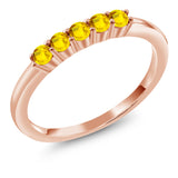 Gem Stone King 0.43 Ct Round Yellow Sapphire 18K Rose Gold Plated Silver Five Stone Anniversary Wedding Band