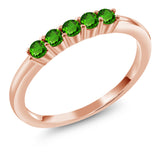 Gem Stone King 0.35 Ct Round Green Simulated Tsavorite 18K Rose Gold Plated Silver Ring