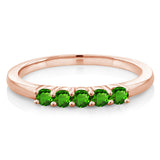 0.35 Ct Round Green Simulated Tsavorite 18K Rose Gold Plated Silver Ring