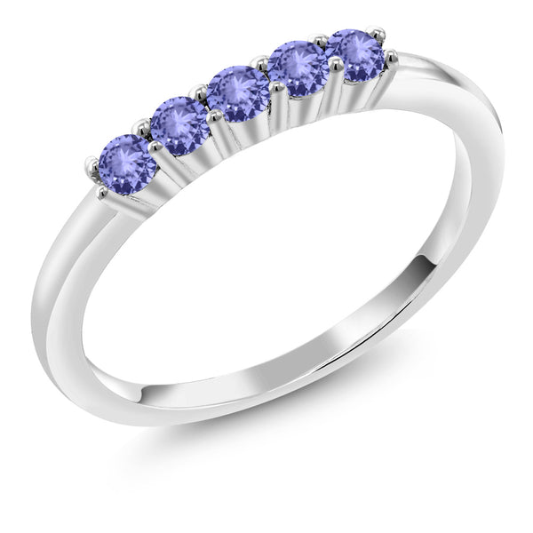 0.40 Ct Round Tanzanite 925 Sterling Silver Five Stone Anniversary Wedding Band
