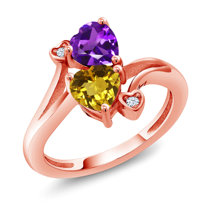 Gem Stone King 1.38 Ct Purple Amethyst Yellow Citrine 18K Rose Gold Plated Silver Ring