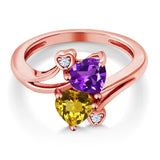 1.38 Ct Purple Amethyst Yellow Citrine 18K Rose Gold Plated Silver Ring