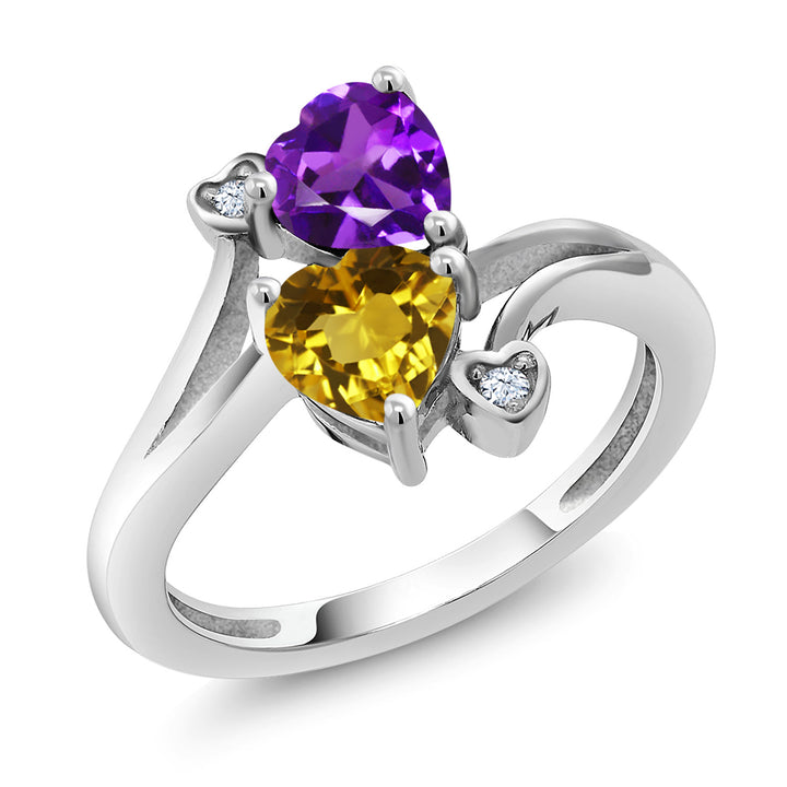 Gem Stone King Purple Amethyst and Yellow Citrine Gemstone Birthstone 925 Sterling Silver Women's Ring (1.38 Ct Heart Shape Available 5,6,7,8,9)