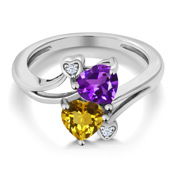1.38 Ct Heart Shape Purple Amethyst Yellow Citrine 925 Sterling Silver Ring