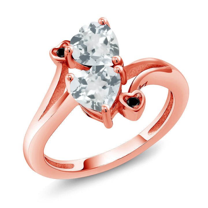 Gem Stone King 1.37 Ct Heart Shape Sky Blue Aquamarine 18K Rose Gold Plated Silver Ring