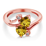 1.43 Ct Heart Shape Yellow Citrine 18K Rose Gold Plated Silver Ring