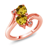 Gem Stone King 1.43 Ct Heart Shape Yellow Citrine 18K Rose Gold Plated Silver Ring