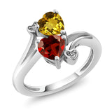 Gem Stone King 1.63 Ct Heart Shape Yellow Citrine Red Garnet 925 Sterling Silver Ring