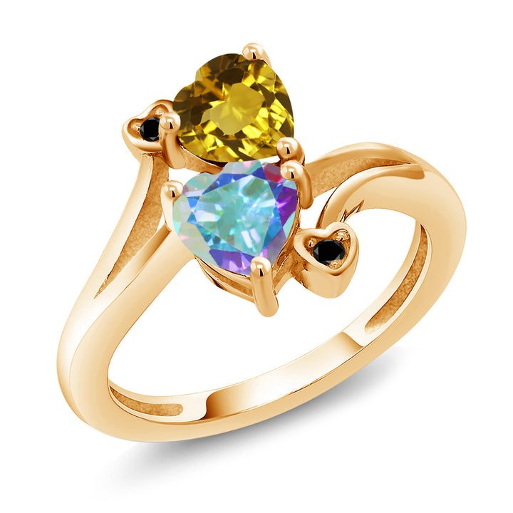 Gem Stone King 1.68 Ct Yellow Citrine Mercury Mist Mystic Topaz 18K Yellow Gold Plated Silver Ring