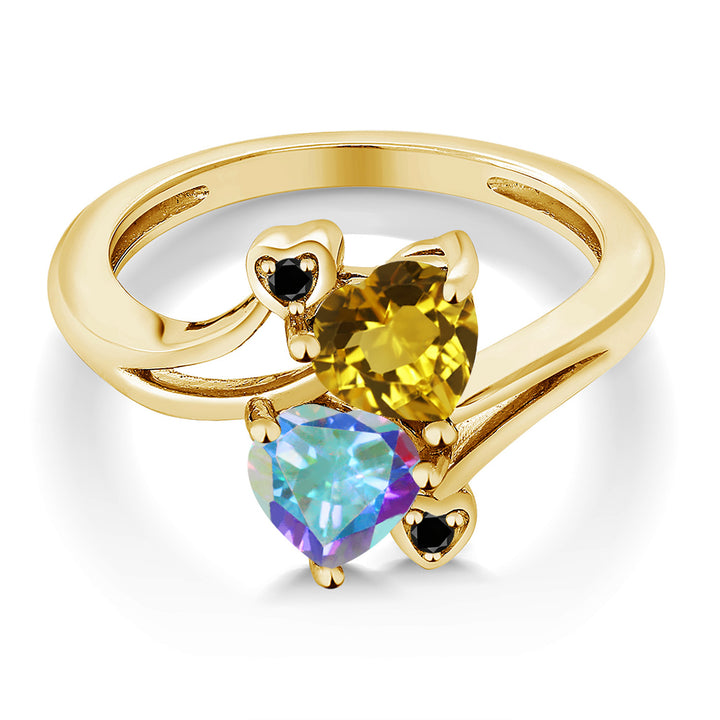 1.68 Ct Citrine Mercury Mist Mystic Topaz 18K Yellow Gold Plated Silver Ring