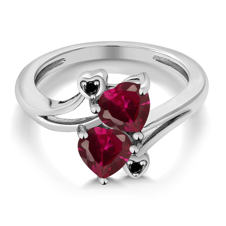 1.96 Ct Heart Shape Red Created Ruby 925 Sterling Silver Ring